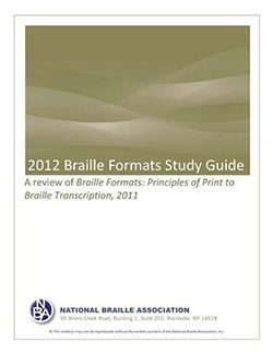 Cover Photo of 2012 Braille Formats Study Guide