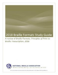 2018 Braille Formats Study Guide - Cover Image