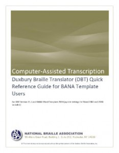 DBT Quick Reference Guide for BANA Template Users